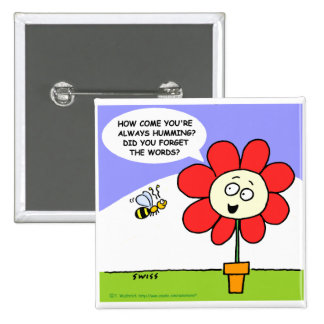 Botão engraçado da flor & da abelha botons