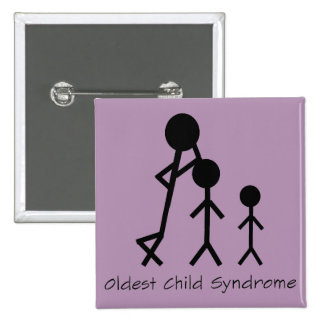 Botão engraçado da síndrome a mais velha da bóton quadrado 5.08cm