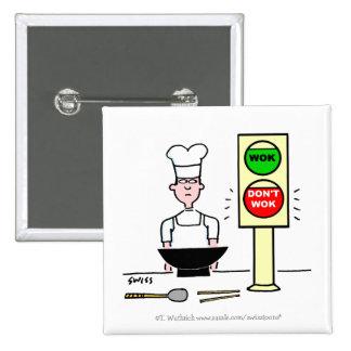 Botão engraçado do cozinheiro do chinês para bóton quadrado 5.08cm
