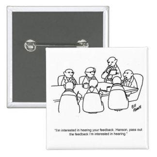 Botão engraçado do humor da reunião de negócios boton