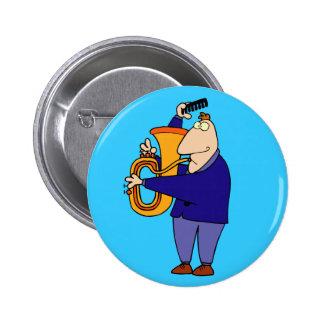 Botão engraçado do jogador da tuba bóton redondo 5.08cm