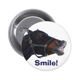 Botão engraçado do sorriso do cavalo bóton redondo 5.08cm