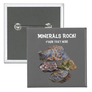 Botão engraçado dos coletores da rocha de minerais botons