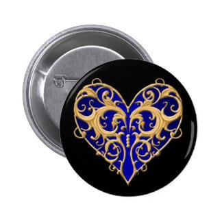 Botão filigrana azul do coração botons