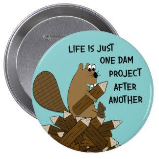 Botão grande engraçado do castor bóton redondo 10.16cm