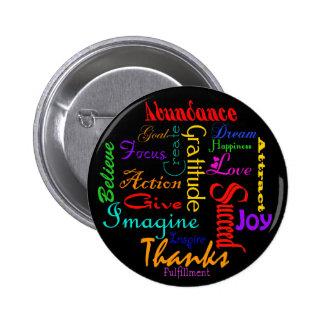 Botão inspirador da colagem da palavra bóton redondo 5.08cm