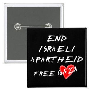 Botão livre de Gaza do coração do Apartheid israel Bóton Quadrado 5.08cm