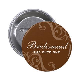 Botão marrom do pino do crachá do nome de etiqueta bóton redondo 5.08cm