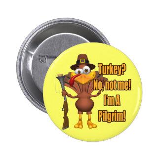 Botão - peregrino de Turquia da acção de graças Bóton Redondo 5.08cm
