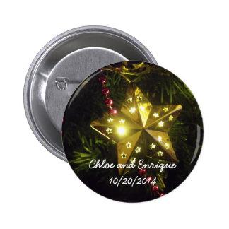 Botão personalizado estrela do casamento do bóton redondo 5.08cm