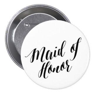 Botão preto do roteiro da madrinha de casamento bóton redondo 7.62cm