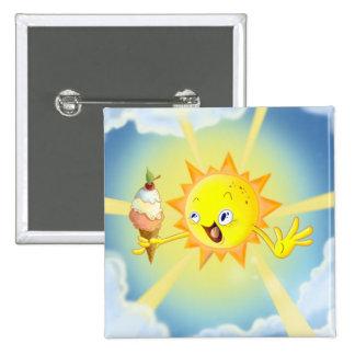 Botão quadrado bonito de Sun Kawaii do verão Bóton Quadrado 5.08cm