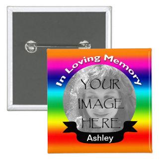 Botão quadrado da foto do arco-íris bóton quadrado 5.08cm