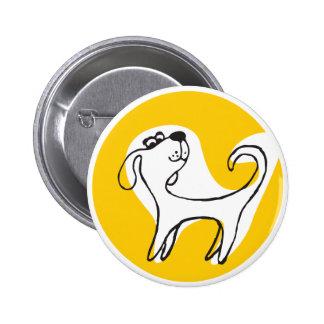 """botão redondo do """"cão engraçado amarelo """" bóton redondo 5.08cm"""