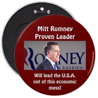 Botão redondo provado Mitt Romney da foto do líder Boton