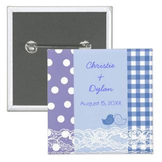 Botão roxo azul do casamento do laço do álbum de bóton quadrado 5.08cm
