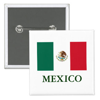 Botão traseiro do Pin da bandeira de México Bóton Quadrado 5.08cm