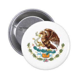 Botão traseiro do Pin da brasão de México Bóton Redondo 5.08cm