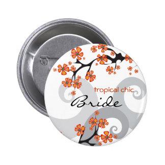 Botão tropical do casamento de praia do redemoinho bóton redondo 5.08cm