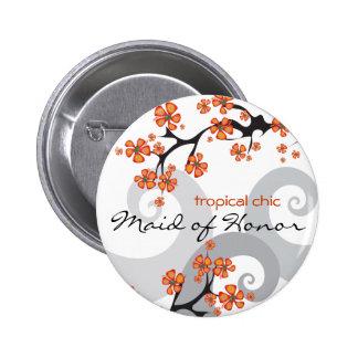 Botão tropical do casamento do redemoinho da flor bóton redondo 5.08cm