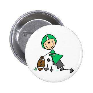 Botão verde do jogador de futebol bóton redondo 5.08cm