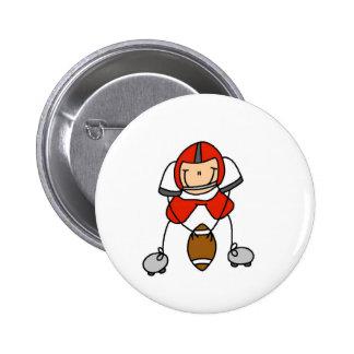 Botão vermelho do jogador de futebol bóton redondo 5.08cm