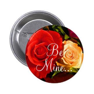 Botão vermelho do rosa amarelo II Bóton Redondo 5.08cm
