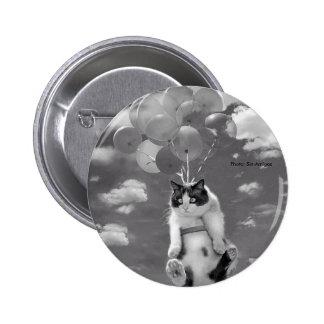 Botão: Vôo engraçado do gato com balões Bóton Redondo 5.08cm