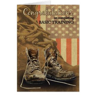 Botas de combate dos parabéns da formação básica cartão comemorativo