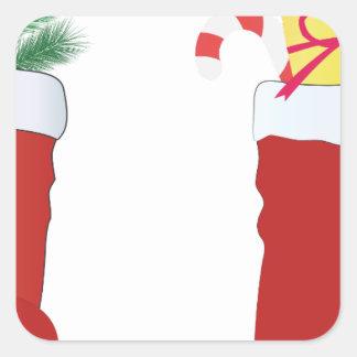 Botas do Natal Adesivo Quadrado