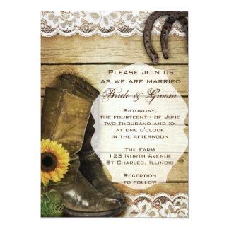 Botas e ferraduras do casamento do girassol do convite 12.7 x 17.78cm