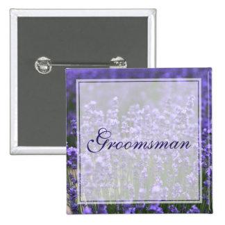 Botões de casamento personalizados da lavanda do bóton quadrado 5.08cm