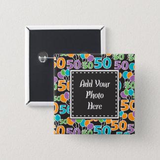 Bóton Quadrado 5.08cm 50th Foto personalizada aniversário colorida