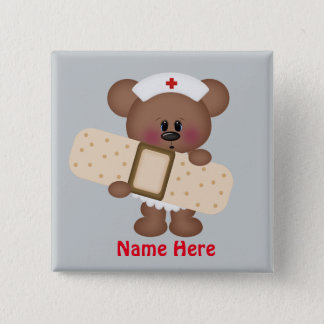 Bóton Quadrado 5.08cm A enfermeira dos desenhos animados adiciona o