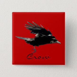 Bóton Quadrado 5.08cm Arte do pássaro dos animais selvagens do corvo do