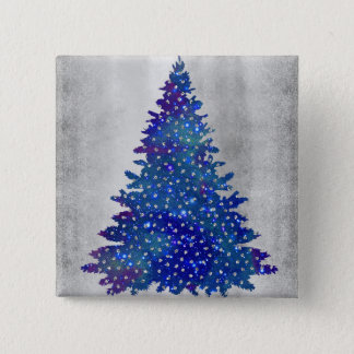 Bóton Quadrado 5.08cm Árvore de Natal azul e roxa da aguarela