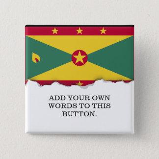 Bóton Quadrado 5.08cm Bandeira de Grenada