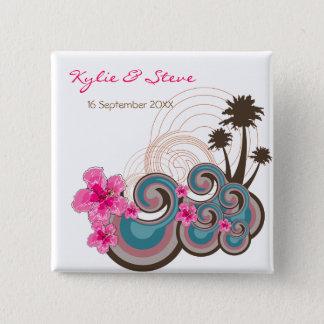 Bóton Quadrado 5.08cm Botão cor-de-rosa do casamento de praia do