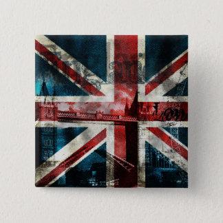Bóton Quadrado 5.08cm Botão/crachá de Union Jack