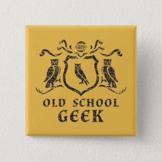 Bóton Quadrado 5.08cm Botão da coruja do geek da velha escola