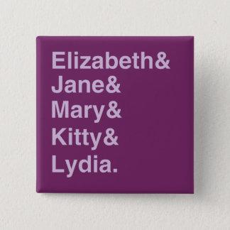 Bóton Quadrado 5.08cm Botão da lista de nomes da tipografia de Jane
