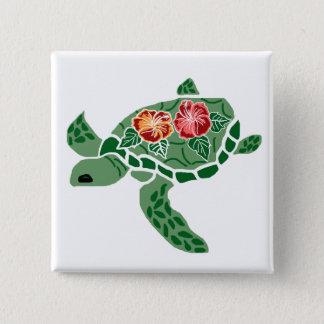 Bóton Quadrado 5.08cm Botão da tartaruga de mar da flor do hibiscus