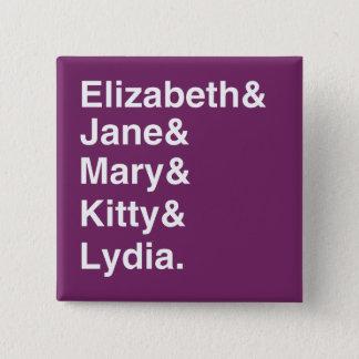 Bóton Quadrado 5.08cm Botão da tipografia de Jane Austen P&P (roxo)