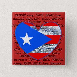 Bóton Quadrado 5.08cm Botão de Maria 2017 do furacão da bandeira de