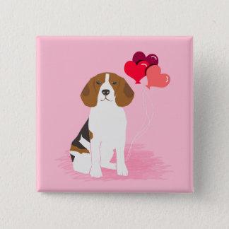 Bóton Quadrado 5.08cm Botão do balão do amor do lebreiro - botão