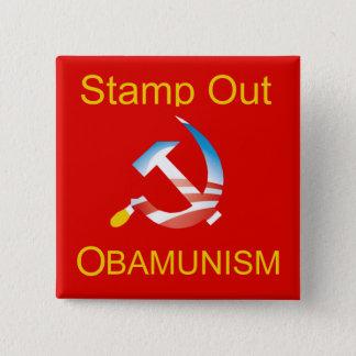 Bóton Quadrado 5.08cm Botão do comunismo do martelo e da foice de Obama