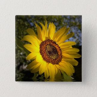 Bóton Quadrado 5.08cm Botão do girassol da luz do sol do bom dia