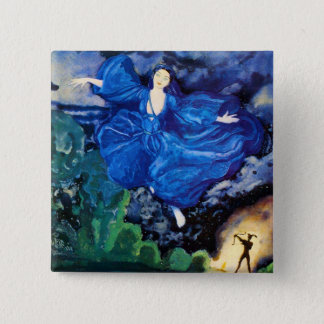 Bóton Quadrado 5.08cm Botão feericamente azul