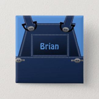 Bóton Quadrado 5.08cm Botão feito sob encomenda azul dos macacões