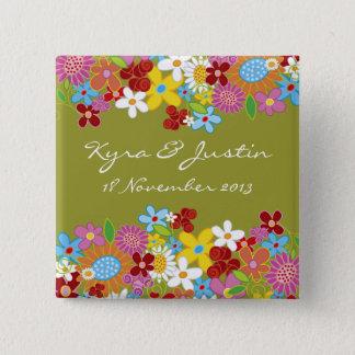 Bóton Quadrado 5.08cm Botão lunático do casamento do jardim de flores do